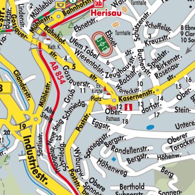 Karte von Herisau Stadtplandienst Schweiz