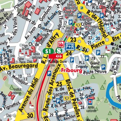 Freiburg Karte.Karte Von Fribourg Stadtplandienst Schweiz